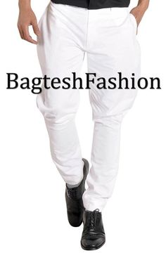 6c1f8537d2ca5 Mens breeches pant made from white color cotton fabric.
