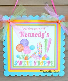 Sweet Shoppe Door Sign personalized by ToadallyCuteParties on Etsy, $11.00