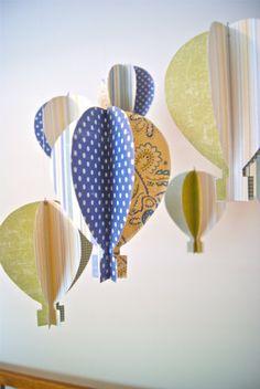 hot air balloon mobile- cute color/pattern ideas