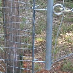 As with most projects, progress on the new fence is taking longer than we'd hoped. By the end of Dan's vacation, we (he mostly) had all the. Hog Wire Fence, Welded Wire Fence, Metal Fence Posts, Diy Fence, Fence Gate, Fence Ideas, Backyard Ideas, Fencing Tools, Fencing Material