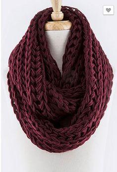 Knit Infinity Scarf (Mustard & Burgundy)