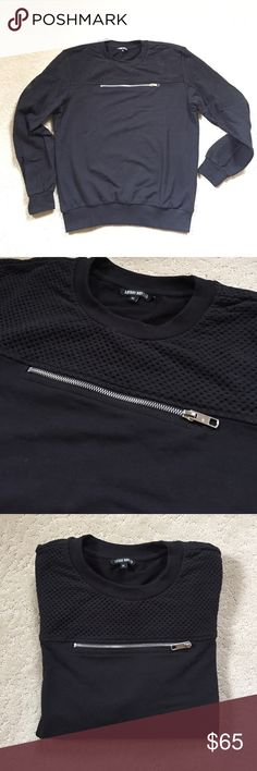 """Antony Morato Black Pullover For Men NWOT Zipper Embellished black cotton blend pullover by Antony Morato. Never worn. Labeled an XL but fits best as a Large. Shoulders 19"""", Chest 44"""", Length 26"""". Antony Morato Sweaters Crewneck"""