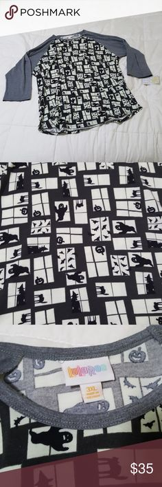 Lularoe 3XL Halloween Randy Ghost Black Cats Lularoe size 3xl randy from the 2017 Halloween Collection. NWT has ghosts, witches, cats, pumkins, and bats on it. LuLaRoe Tops Tees - Long Sleeve
