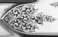 Guns engraved by Steve Lindsay Engraving Tools, Metal Engraving, Gravure Metal, Leather Tooling Patterns, Wood Burning Patterns, Scroll Pattern, Air Brush Painting, Carving Designs, Leather Art