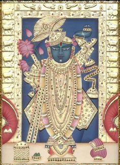 Sri nath Ji at nathdwara Shree Krishna, Krishna Art, Indian Gods, Indian Art, Pichwai Paintings, Exotic Art, Tanjore Painting, Great King, Hindu Art