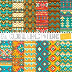 "Tribal digital papers : ""Colorful Ethnic Patterns"", aztec digital papers, tribal patterns, native american patterns, tribal scrapbook paper"
