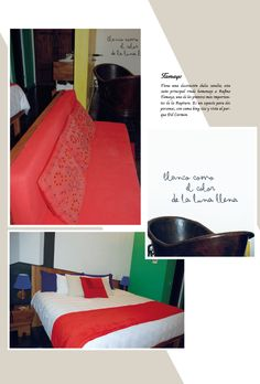 Hotel del Carmen, Guadalajara-México Habitación Tamayo Tiene una decoración dulce sandía; esta  suite principal rinde homenaje a Rufino Tamayo, uno de los pintores más importantes de la Ruptura. Es un espacio para dos personas, con cama king size y vista al parque Del Carmen.