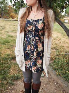 Exploring My Style blog. blue floral dress, long thick cream boyfriend cardigan…