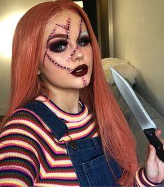 Fantasias Halloween - - Festival make up - Halloween Ideas Chucky Halloween, Cute Halloween Makeup, Halloween Eyes, Creative Halloween Costumes, Halloween Outfits, Halloween Costumes Women Scary, Diy Chucky Costume, Halloween Inspo, Halloween 2019