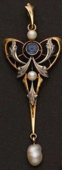 Sapphire & Pearl Art Nouveau Drop.