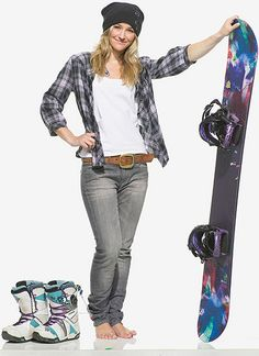 My Girl Gretchen Bleiler--Such an inspiration for women's snowboarding.  This is my exact set up, except I have the black/purple versions of the boots.