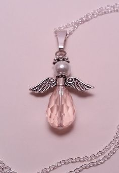 Pink Angel Pendant with Silver Chain  Free by BroadwayDesignz