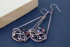 copper wire wrapped earrings with purple faceted glass drops4 | by Eni Fenyvesi