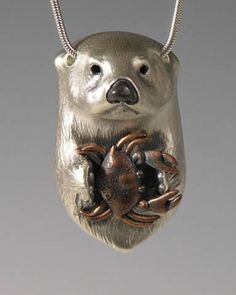 Sea Otter Jewelry, Animal Totem Jewelry Handcrafted Silver Jewelry with Crab