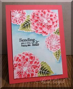 handmade greeting card ... gorgeous dahlias ... white line embossing with Distress Ink watercoloring .. luv how the blue background makes the flowers pop ...