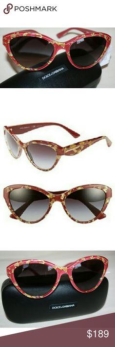 "Dolce & Gabbana red ""Golden Leaves"" cat eye sunnie DG 4199 color 2748/8G Dolce & Gabbana Accessories Sunglasses"