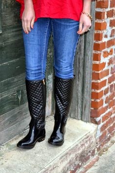 Monogrammed Black Quilted Riding Boots  by embellishboutiquellc