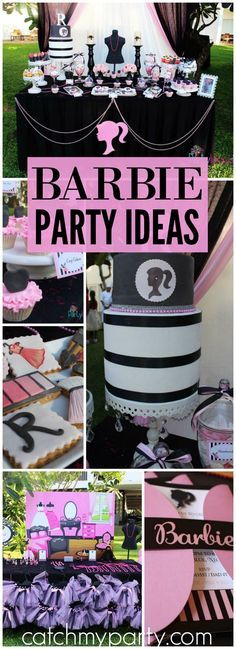 Loving this birthday party with a fashionista Barbie theme! See more party ideas at CatchMyParty.com!