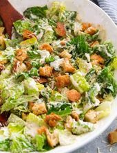 This is my favorite caesar salad! It's made with a rich and creamy homemade … This is my favorite caesar salad! It's made with a rich and creamy homemade dressing and perfectly golden brown, crisp fresh croutons and lots of Parmesan. Salad Recipes Healthy Lunch, Salad Recipes For Dinner, Healthy Salad Recipes, Vegetarian Meals, Healthy Caesar Salad, Kale Recipes, Avocado Recipes, Lunch Recipes, Homemade Caesar Salad Dressing