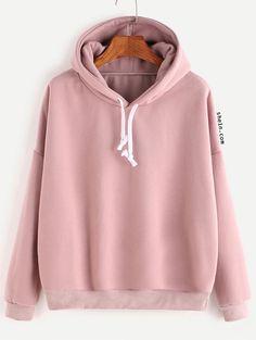 Pink Hooded Drop Shoulder Sweatshirt