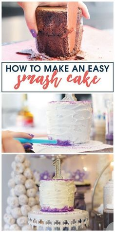 Make an easy smash cake for your little one's 1st birthday party with this simple guide! #firstbirthday #smashcake