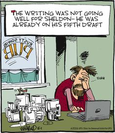 Good writing takes many drafts, but not like in this #RealityCheck #comic.  Check out one of the CBC writing classes at http://www.ed2go.com/cbc123