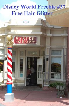 Disney World Tips & Secrets / Disney World Freebie 14 - The Harmony Barber Shop on Main Street USA in the Magic Kingdom will often sprinkle children's hair with hair glitter for free - charges apply for other services - Colored hair gel is only $5.   For more info, see: https://disneyworld.disney.go.com/events-tours/magic-kingdom/harmony-barber-shop/ For more freebies, see:  http://www.buildabettermousetrip.com/disney-freebies/