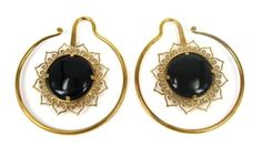 PAIR-Black-Obsidian-LOTUS-Flower-STONE-BRASS-GAUGE-WEIGHT-ear-stretch-32g-spiral