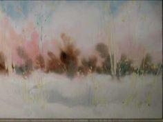 Painting watercolour landscape - birch tree Part 1 ++ Watercolor Video, Art Watercolour, Watercolor Tutorials, Watercolor Trees, Watercolor Techniques, Watercolor Landscape, Art Tutorials, Art Aquarelle, Learn To Paint