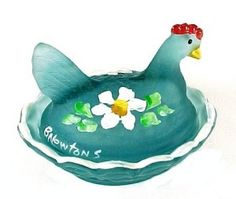 Blue Satin Glass Hen on a Nest Chick Salt Dip Cellar.  American Made in U. S. A. Miniature Pressed Art Glassware Covered Animal Chicken Ring Dish or Trinket Box. Color Name is Cobaline Green Satin, a mix of Transparent cobalt and green Glass, Satin Finish, with Hand painted White flowers and rim.