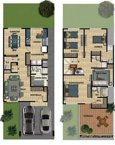 In general, modern house is designed to be energy and environmental friendly. The design often uses sustainable and recycled Dream House Plans, Modern House Plans, House Floor Plans, My Dream Home, Home Design Plans, Plan Design, 2 Storey House, Duplex House, Sims House