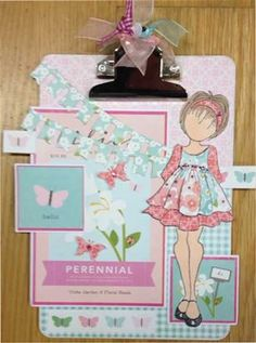 Prima Julie Nutting Doll Stamp - Doll With Ruffle Dress