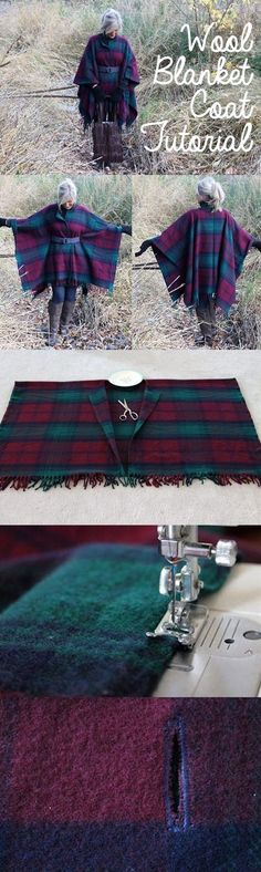 Wrap up in Style with this DIY Wool Blanket Coat. Ok, you'd have to have the PERFECT blanket to make this poncho, def not these colors, but it might work. Sewing Hacks, Sewing Tutorials, Sewing Crafts, Sewing Projects, Sewing Patterns, Tutorial Sewing, Diy Projects, Sewing Basics, Beginners Sewing