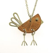 Penny Bird Necklace sterling silver and copper by KathrynRiechert