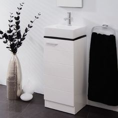 Vail 325 Vanity Basin Unit - Black And White Bathroom Ideas - Black And White Vanity Unit With Basin - Better Bathrooms White Vanity Unit, Basin Vanity Unit, Basin Unit, Vanity Units, Better Bathrooms, Amazing Bathrooms, Bathroom Furniture, Bathroom Ideas, Black White Bathrooms
