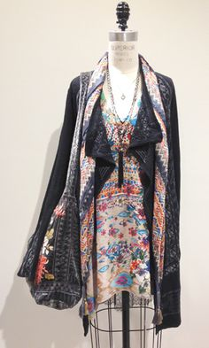 Boho Embroidered Cardigan and Printed Tunic Top Look by Johnny Was Clothing Palo Alto #johnnywas
