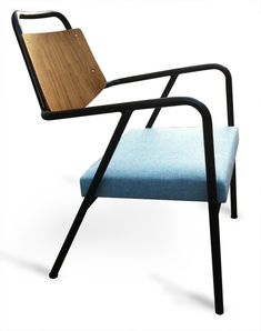 Anonymous; Oak and Enameled Tubular Steel Armchair by Raphael for Cité Universitaire at Antony, c1955.