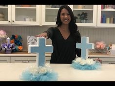 Discover recipes, home ideas, style inspiration and other ideas to try. Boy Baptism Centerpieces, Baptism Party Decorations, Communion Centerpieces, First Communion Decorations, First Communion Party, Shower Centerpieces, Balloon Decorations, Candy Bar Bautizo, Image Jesus