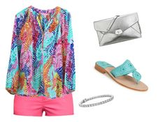 """""""lilly and jack💙"""" by lexijakins ❤ liked on Polyvore featuring H&M, Lilly Pulitzer, Blue Nile, Nine West and Jack Rogers"""