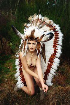 Available Feb 1st Buffalo horn feather headdress Woodland fairy nymph goddess headpiece gaga steampunk burlesque costume. $829.00, via Etsy.