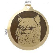 Medaille chien gravee Griffon Bruxellois