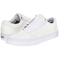 f923a8eb568 Vans Old Skool Zip ((Perf Leather) True White) Lace up casual Shoes