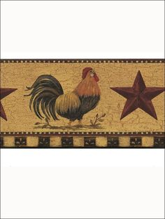 Rooster and Star Border for Wallpaper