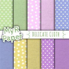 """With Love By MyRpaper #patterns #design #graphic #paperdesign #papercraft #scrapbooking #digitalpapers Digital Paper: """" Delicate Cloth """" #Canvas and #Hearts and #Stars colors #Pink, Purple, #Yellow, #Green, #Blue,  Instant Download  HELLO AND WELCOME TO MY SHOP  Myr Paper is a shop... #canvas #baby #pink #yellow #green #blue #hearts #stars #burlap"""