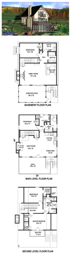 New House Plan 44923 | Total Living Area: 2283 sq. ft., 3 bedrooms & 3 bathrooms. #houseplan #newhouseplan