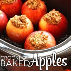 Crockpot baked apples - for whole30, eliminate sugar, use chopped raisins instead, replace butter with ghee or coconut oil