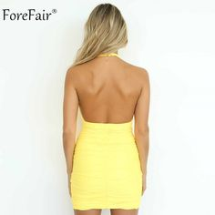 d72d34297a8 Forefair Halter Ruched Short Party Club Dress Women Summer 2019 - Aladdin s  Box. Let The Genie Out Of The Lamp!
