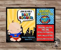 SUPERHERO Baby Shower Invitation Superhero Invite by SewKawaiiKids