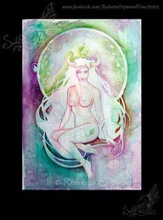 Taurus Zodiac Art Goddess; Bull ; Earth sign; Astrology Art