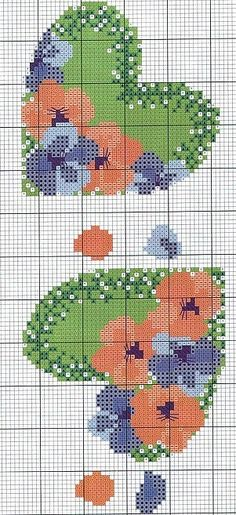 no color chart available, just use pattern chart as your color guide. or choose your own colors. Cross Stitch Bookmarks, Cross Stitch Pictures, Cross Stitch Heart, Cross Stitch Flowers, Embroidery Hearts, Cross Stitch Embroidery, Embroidery Patterns, Cross Stitch Designs, Cross Stitch Patterns